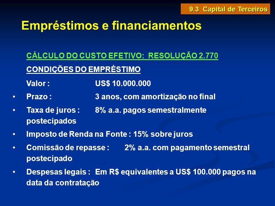 Empréstimos e financiamentos 9.3 Capital de Terceiros CÁLCULO DO CUSTO EFETIVO: RESOLUÇÃO 2.770 CONDIÇÕES DO EMPRÉSTIMO Valor : US$ 10.000.000 Prazo :