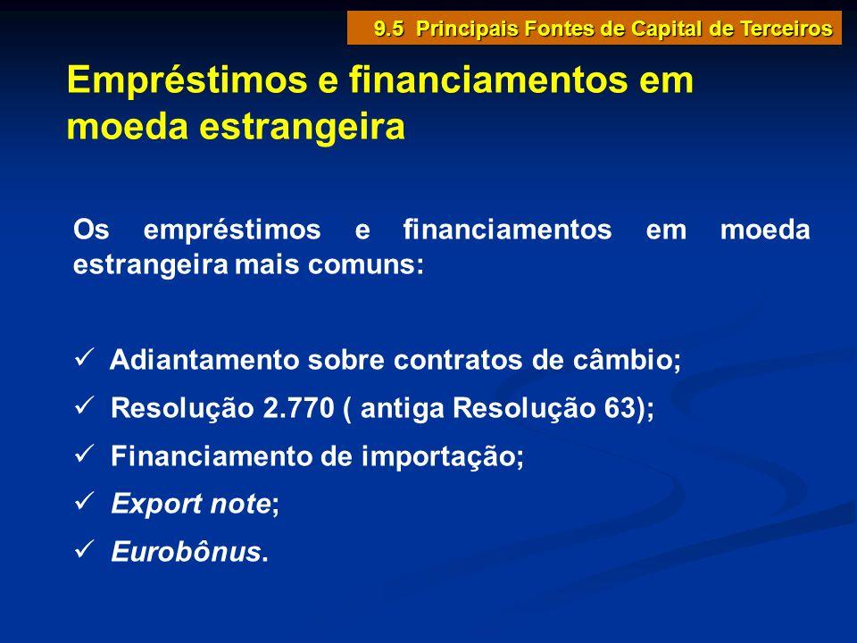 Empréstimos e financiamentos em moeda estrangeira Os empréstimos e financiamentos em moeda estrangeira mais comuns: Adiantamento sobre contratos de câ