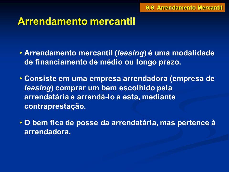 9.6 Arrendamento Mercantil Arrendamento mercantil Arrendamento mercantil (leasing) é uma modalidade de financiamento de médio ou longo prazo. Consiste