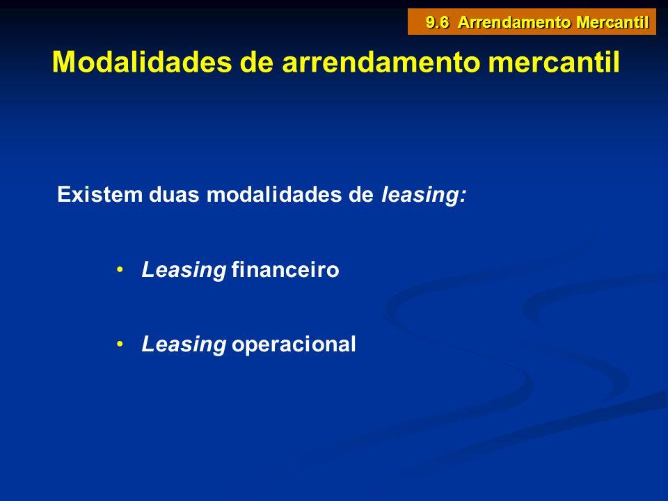 Modalidades de arrendamento mercantil Existem duas modalidades de leasing: Leasing financeiro Leasing operacional 9.6 Arrendamento Mercantil