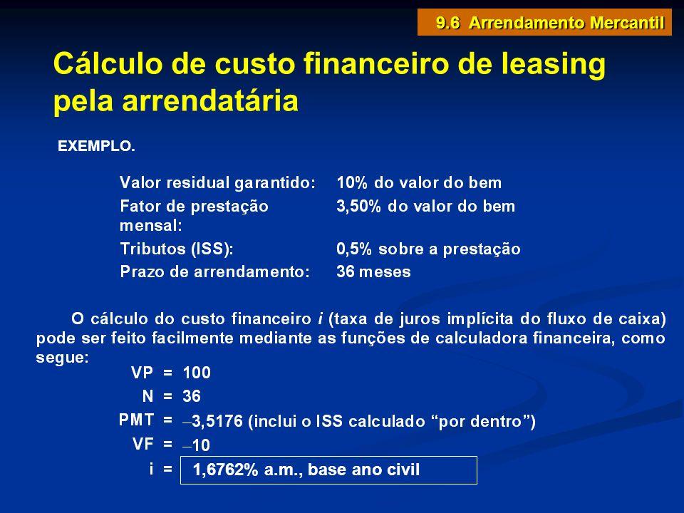 Cálculo de custo financeiro de leasing pela arrendatária EXEMPLO. 1,6762% a.m., base ano civil 9.6 Arrendamento Mercantil