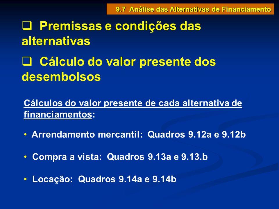Premissas e condições das alternativas Cálculo do valor presente dos desembolsos Cálculos do valor presente de cada alternativa de financiamentos: Arr
