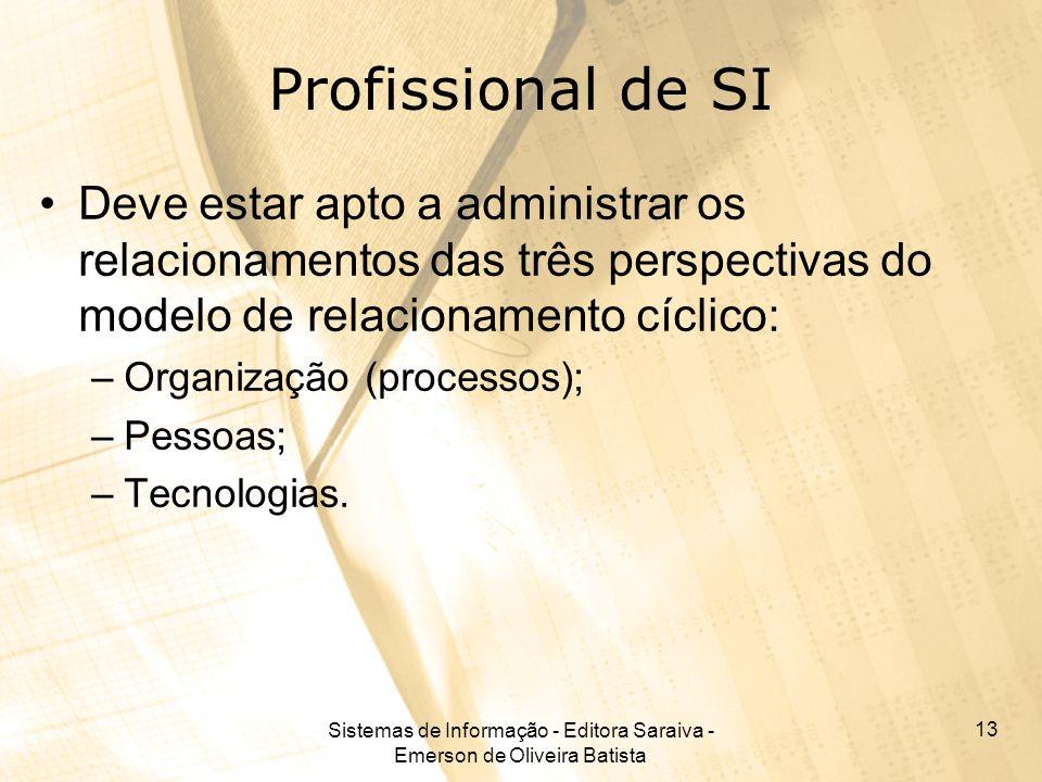 Sistemas de Informação - Editora Saraiva - Emerson de Oliveira Batista 13 Profissional de SI Deve estar apto a administrar os relacionamentos das três