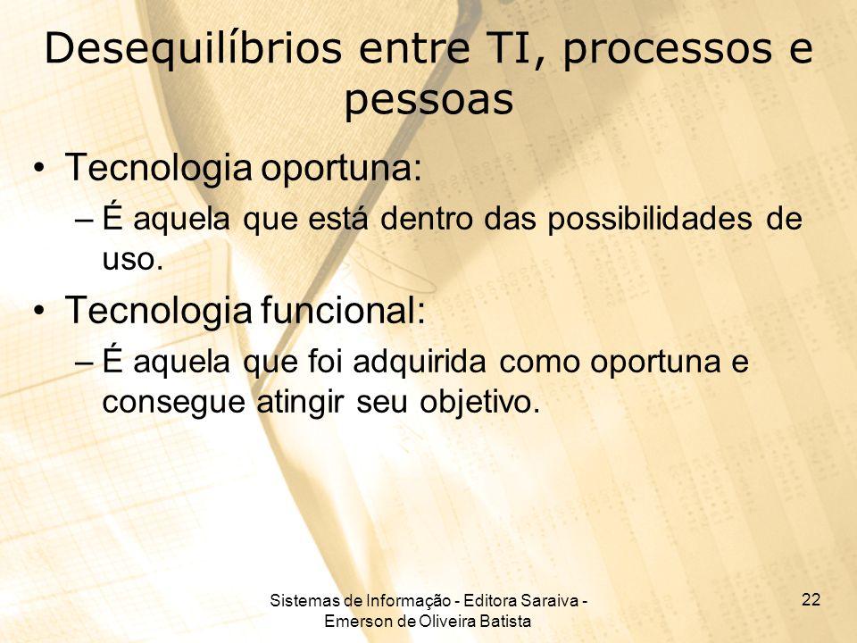 Sistemas de Informação - Editora Saraiva - Emerson de Oliveira Batista 22 Desequilíbrios entre TI, processos e pessoas Tecnologia oportuna: –É aquela