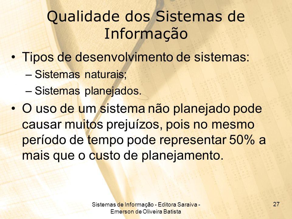 Sistemas de Informação - Editora Saraiva - Emerson de Oliveira Batista 27 Qualidade dos Sistemas de Informação Tipos de desenvolvimento de sistemas: –
