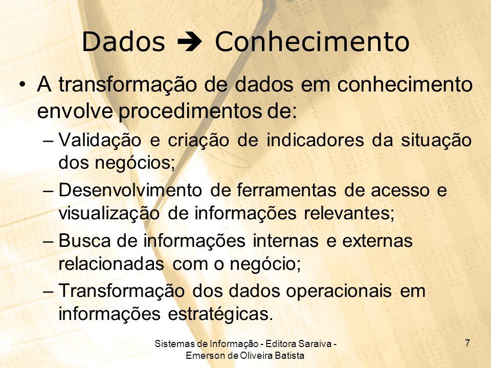Sistemas de Informação - Editora Saraiva - Emerson de Oliveira Batista 7 Dados Conhecimento A transformação de dados em conhecimento envolve procedime