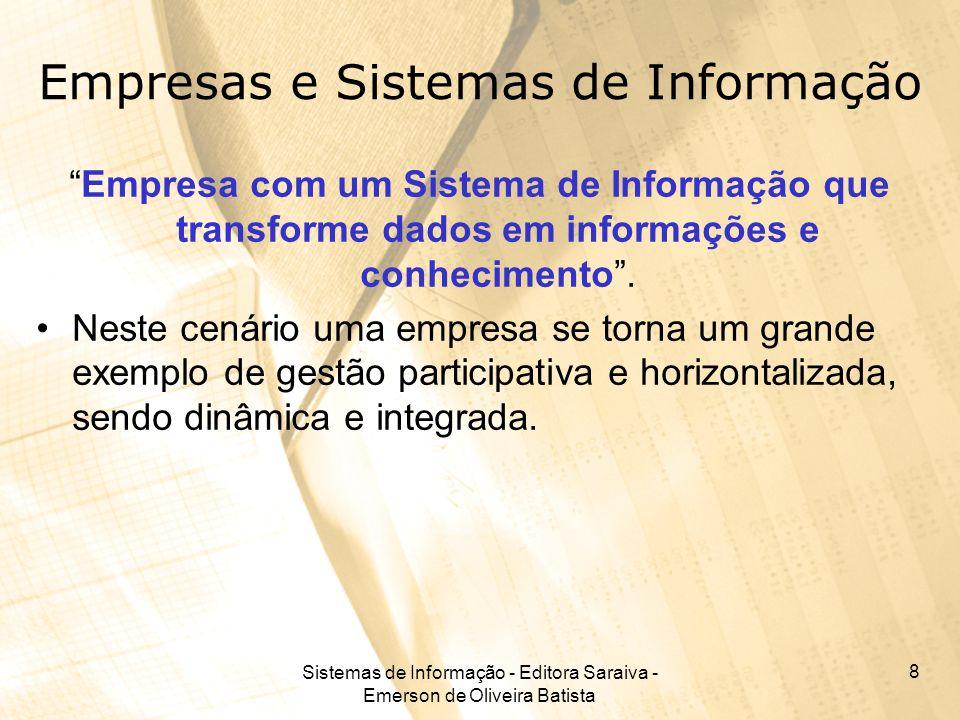 Sistemas de Informação - Editora Saraiva - Emerson de Oliveira Batista 8 Empresas e Sistemas de Informação Empresa com um Sistema de Informação que tr