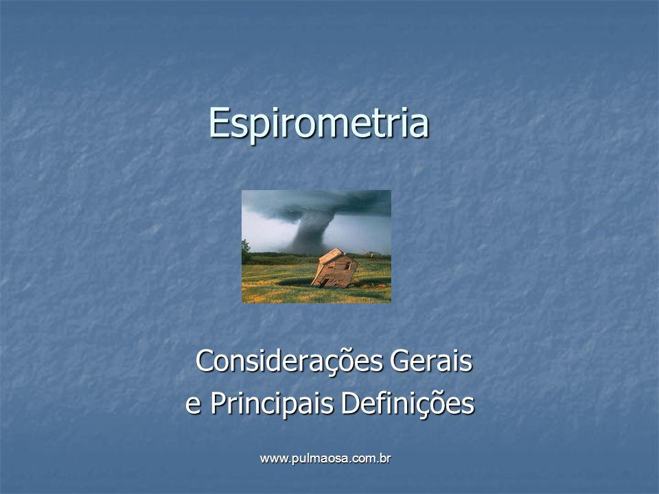 Indicação da Espirometria Avaliação de doenças obstrutivas: geralmente os sintomas se apresentam quando estes valores estão abaixo de 60% do previsto...