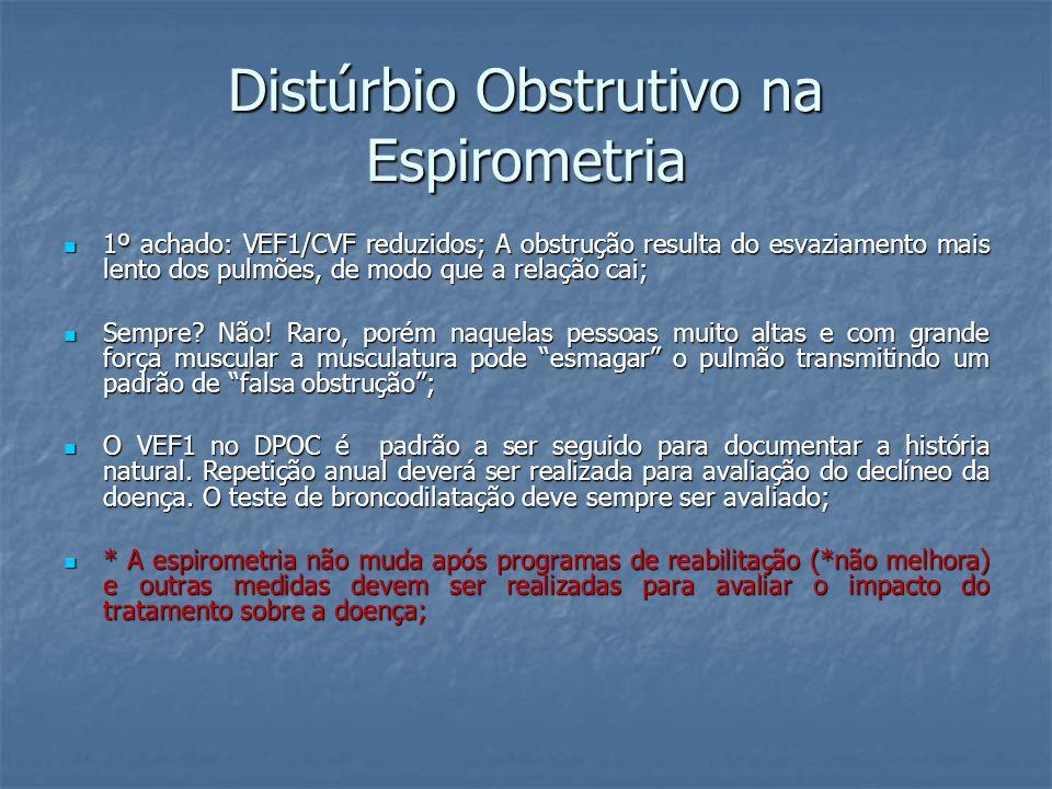 Distúrbio Obstrutivo na Espirometria 1º achado: VEF1/CVF reduzidos; A obstrução resulta do esvaziamento mais lento dos pulmões, de modo que a relação