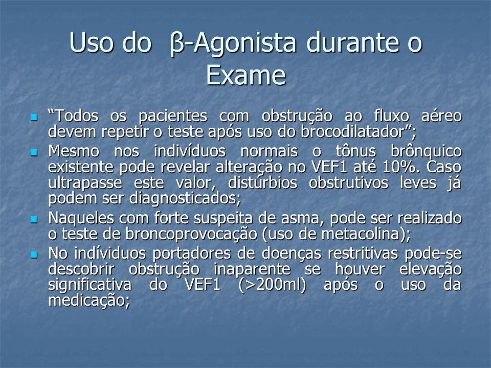 Uso do β-Agonista durante o Exame Todos os pacientes com obstrução ao fluxo aéreo devem repetir o teste após uso do brocodilatador; Todos os pacientes
