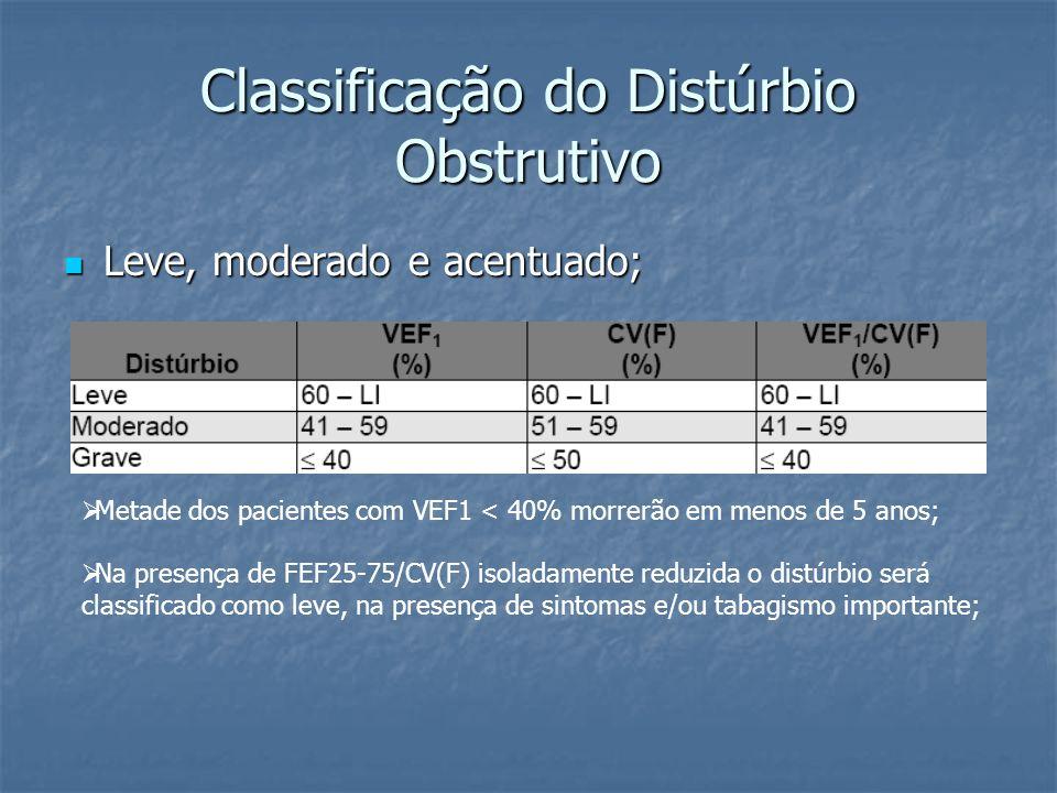 Classificação do Distúrbio Obstrutivo Leve, moderado e acentuado; Leve, moderado e acentuado; Metade dos pacientes com VEF1 < 40% morrerão em menos de 5 anos; Na presença de FEF25-75/CV(F) isoladamente reduzida o distúrbio será classificado como leve, na presença de sintomas e/ou tabagismo importante;