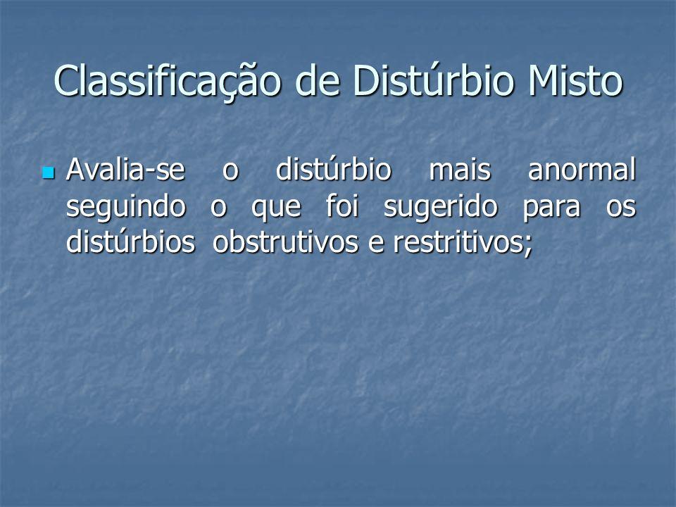 Classificação de Distúrbio Misto Avalia-se o distúrbio mais anormal seguindo o que foi sugerido para os distúrbios obstrutivos e restritivos; Avalia-s