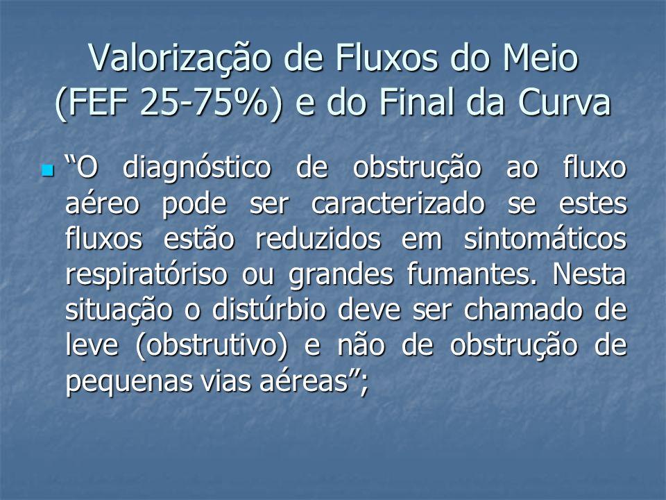 Valorização de Fluxos do Meio (FEF 25-75%) e do Final da Curva O diagnóstico de obstrução ao fluxo aéreo pode ser caracterizado se estes fluxos estão