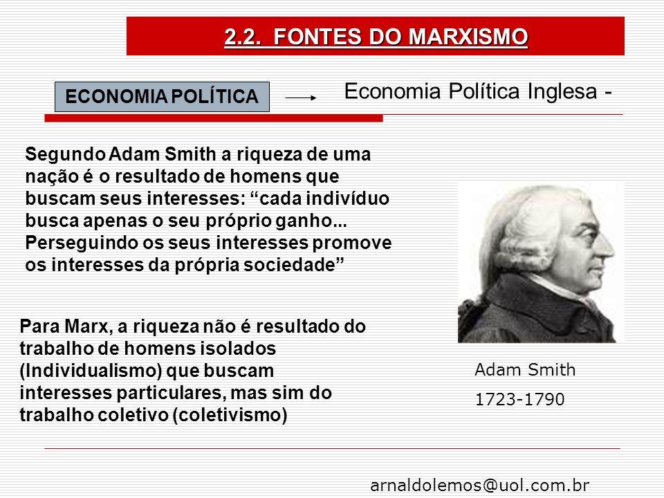 arnaldolemos@uol.com.br ECONOMIA POLÍTICA Economia Política Inglesa - Para Marx, a riqueza não é resultado do trabalho de homens isolados (Individuali