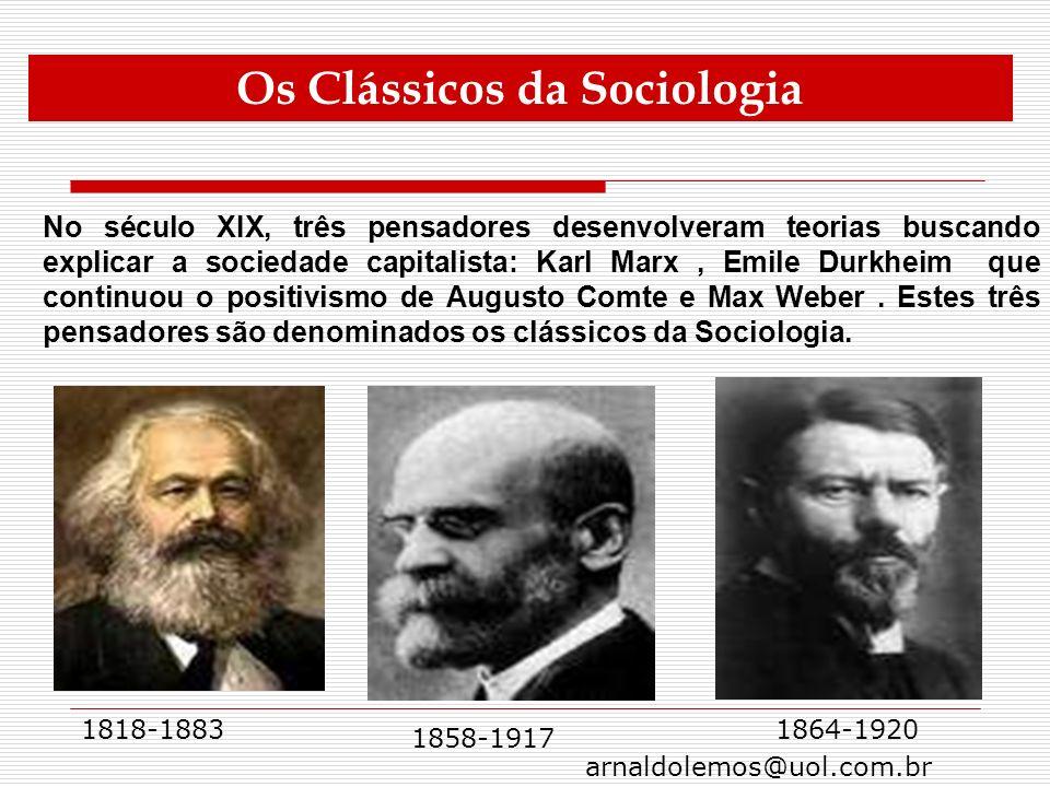 arnaldolemos@uol.com.br No século XIX, três pensadores desenvolveram teorias buscando explicar a sociedade capitalista: Karl Marx, Emile Durkheim que
