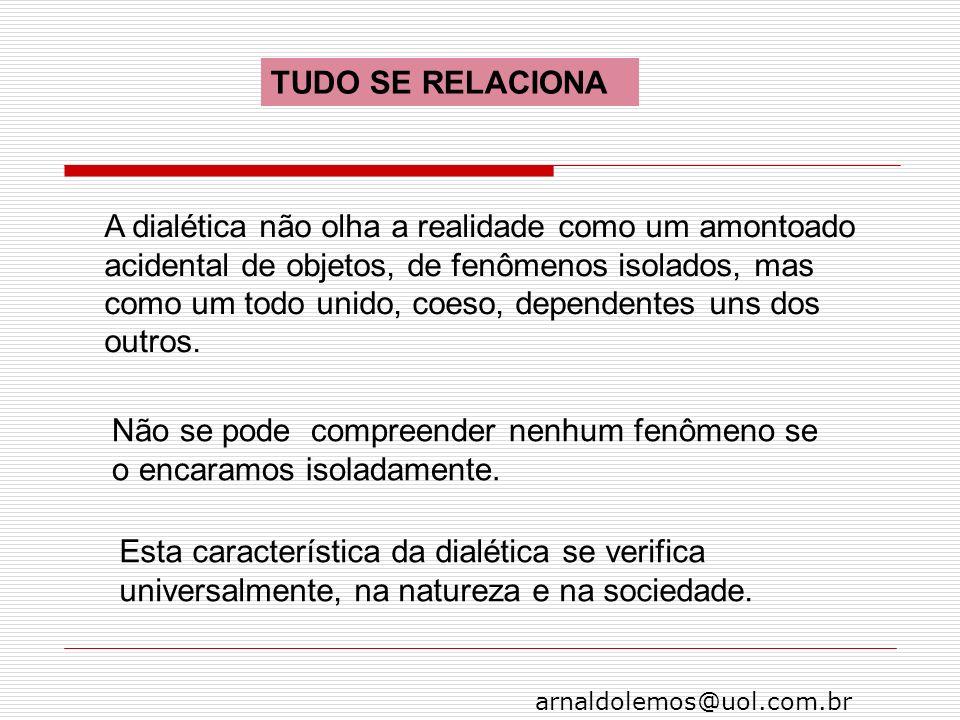 arnaldolemos@uol.com.br TUDO SE RELACIONA A dialética não olha a realidade como um amontoado acidental de objetos, de fenômenos isolados, mas como um