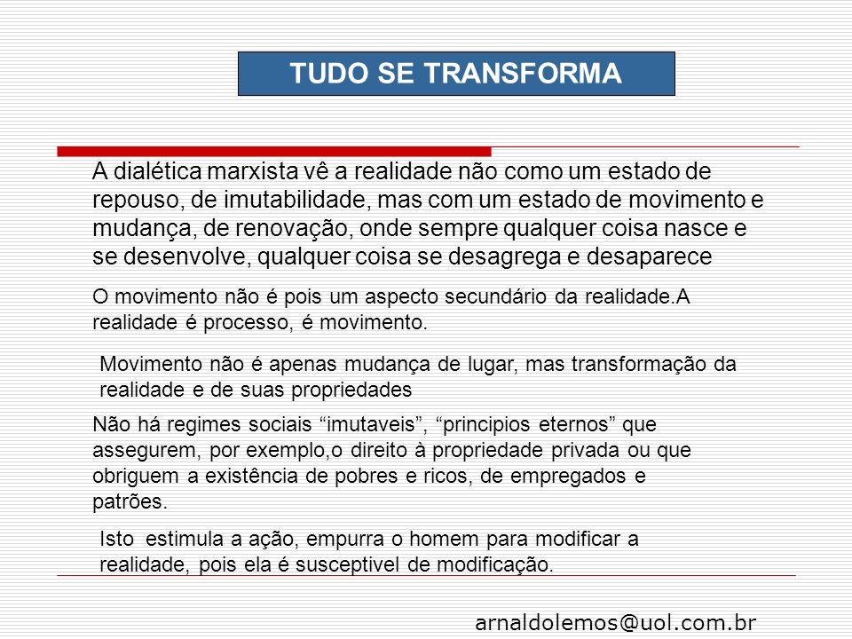 arnaldolemos@uol.com.br TUDO SE TRANSFORMA A dialética marxista vê a realidade não como um estado de repouso, de imutabilidade, mas com um estado de m