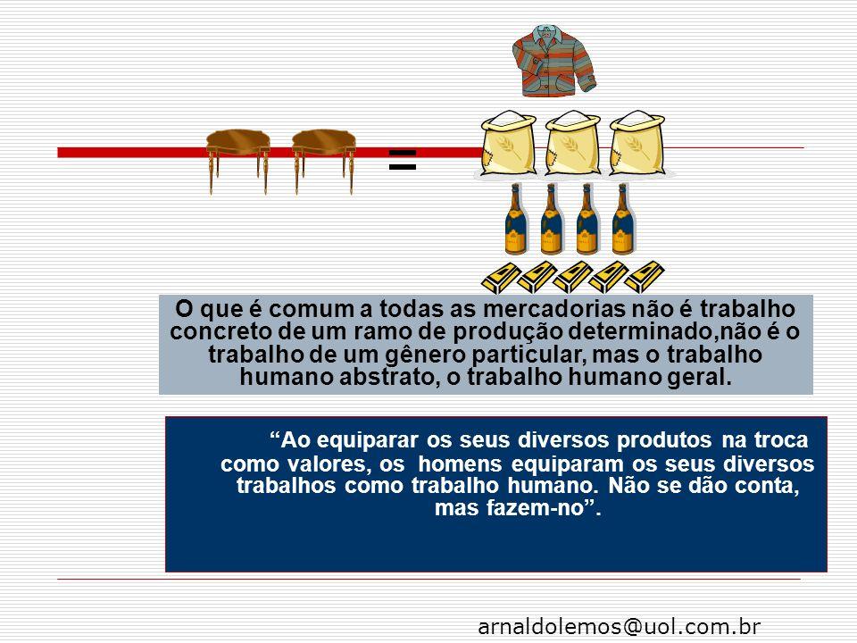arnaldolemos@uol.com.br Ao equiparar os seus diversos produtos na troca como valores, os homens equiparam os seus diversos trabalhos como trabalho hum