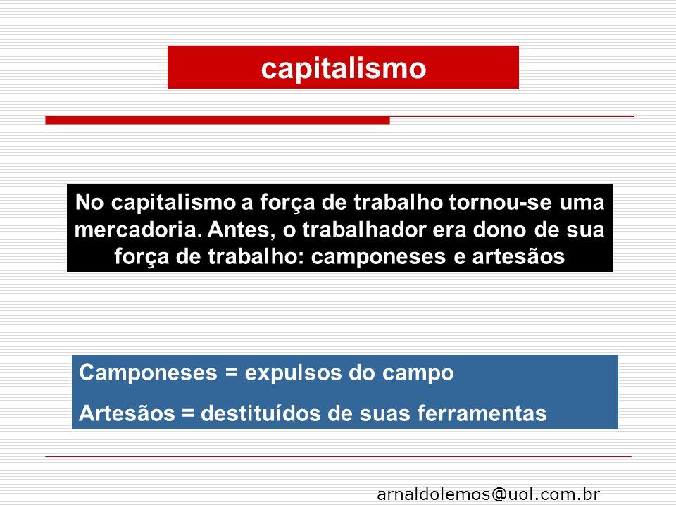 arnaldolemos@uol.com.br Camponeses = expulsos do campo Artesãos = destituídos de suas ferramentas No capitalismo a força de trabalho tornou-se uma mer