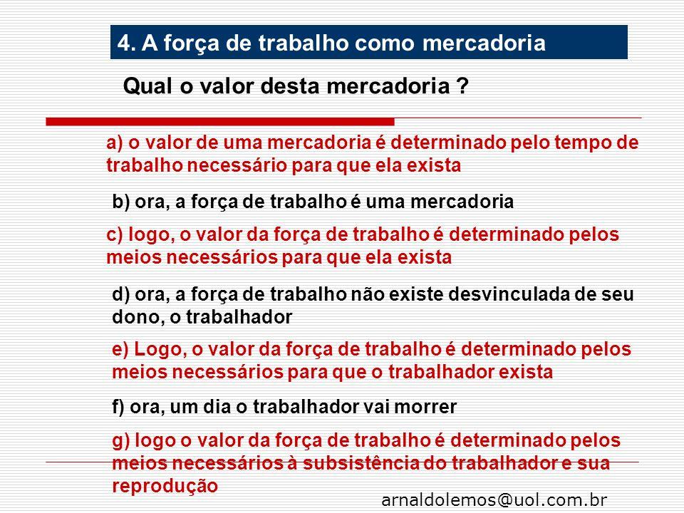 arnaldolemos@uol.com.br 4. A força de trabalho como mercadoria Qual o valor desta mercadoria ? a) o valor de uma mercadoria é determinado pelo tempo d