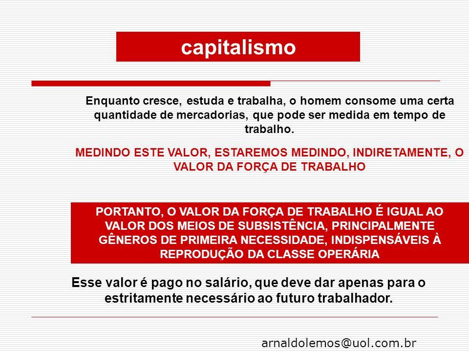 arnaldolemos@uol.com.br Enquanto cresce, estuda e trabalha, o homem consome uma certa quantidade de mercadorias, que pode ser medida em tempo de traba