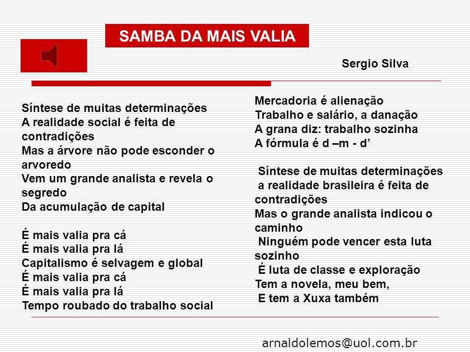 arnaldolemos@uol.com.br Síntese de muitas determinações A realidade social é feita de contradições Mas a árvore não pode esconder o arvoredo Vem um gr