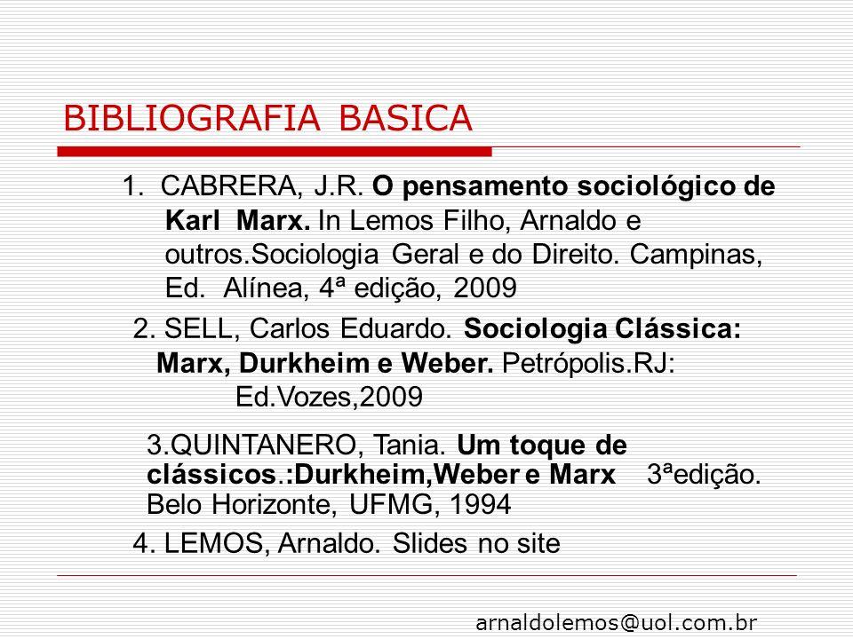 arnaldolemos@uol.com.br BIBLIOGRAFIA BASICA 1. CABRERA, J.R. O pensamento sociológico de Karl Marx. In Lemos Filho, Arnaldo e outros.Sociologia Geral