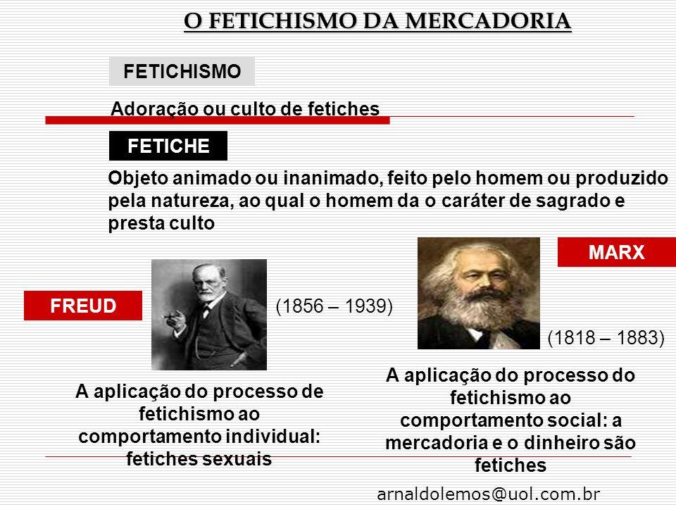arnaldolemos@uol.com.br O FETICHISMO DA MERCADORIA FETICHISMO FETICHE FREUD Adoração ou culto de fetiches Objeto animado ou inanimado, feito pelo home