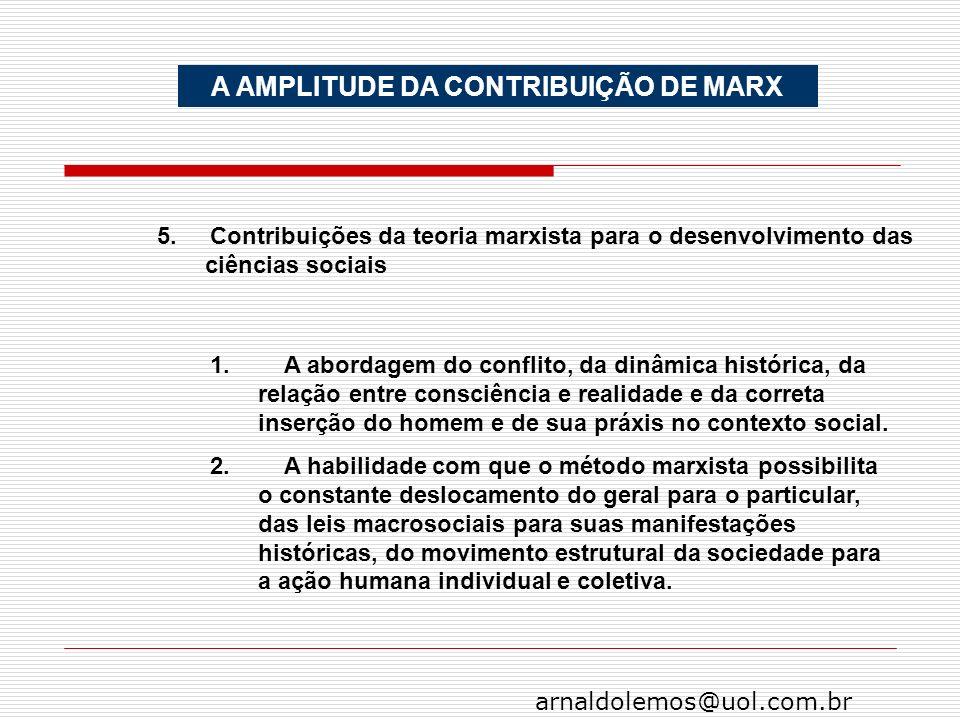 arnaldolemos@uol.com.br A AMPLITUDE DA CONTRIBUIÇÃO DE MARX 5. Contribuições da teoria marxista para o desenvolvimento das ciências sociais 1. A abord