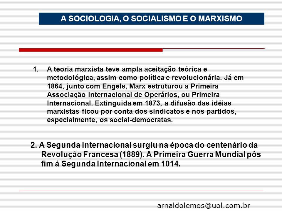 arnaldolemos@uol.com.br A SOCIOLOGIA, O SOCIALISMO E O MARXISMO 1.A teoria marxista teve ampla aceitação teórica e metodológica, assim como política e
