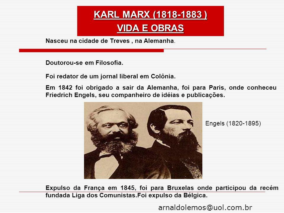 arnaldolemos@uol.com.br Nasceu na cidade de Treves, na Alemanha. Doutorou-se em Filosofia. Foi redator de um jornal liberal em Colônia. Em 1842 foi ob