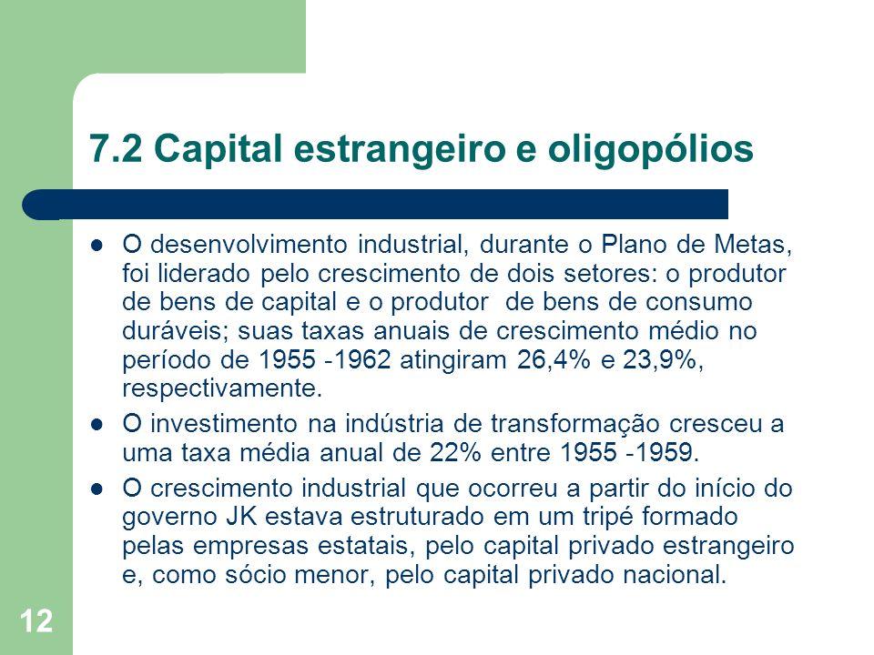 12 7.2 Capital estrangeiro e oligopólios O desenvolvimento industrial, durante o Plano de Metas, foi liderado pelo crescimento de dois setores: o prod