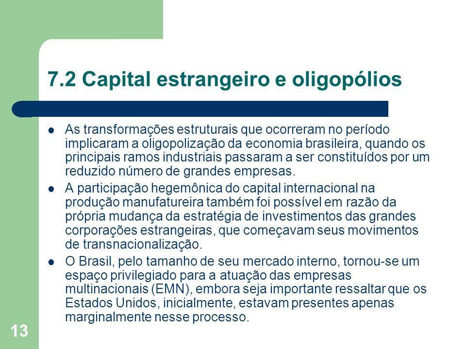 13 7.2 Capital estrangeiro e oligopólios As transformações estruturais que ocorreram no período implicaram a oligopolização da economia brasileira, qu