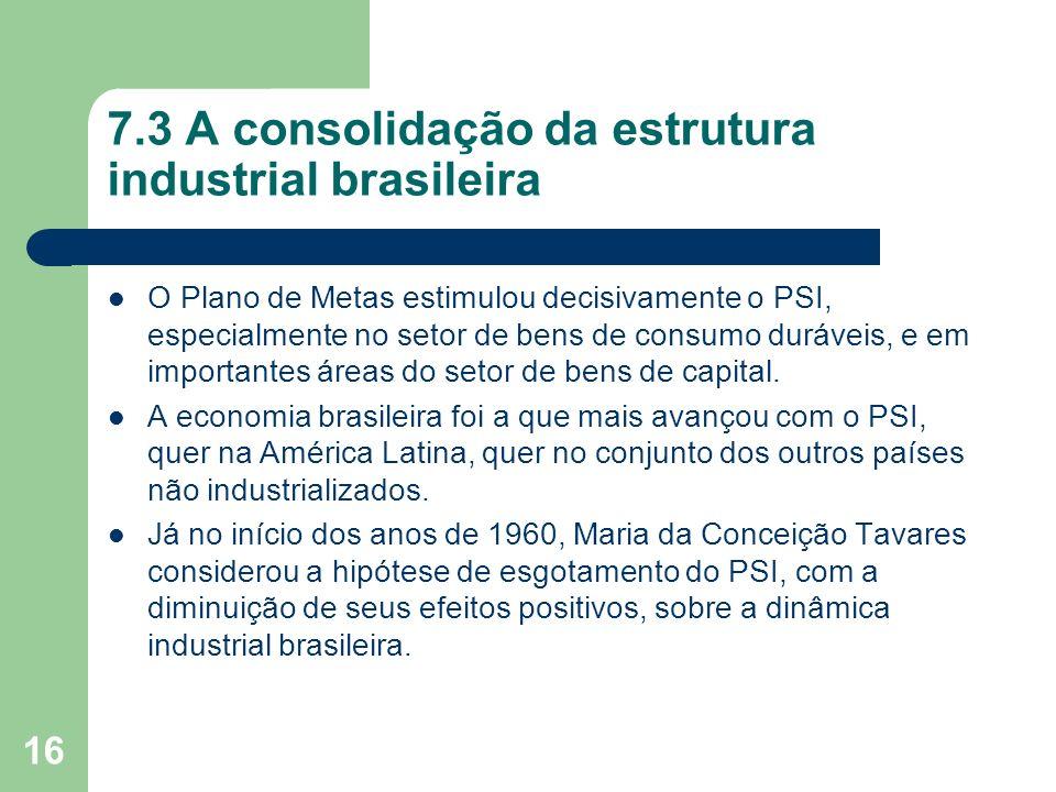16 7.3 A consolidação da estrutura industrial brasileira O Plano de Metas estimulou decisivamente o PSI, especialmente no setor de bens de consumo dur