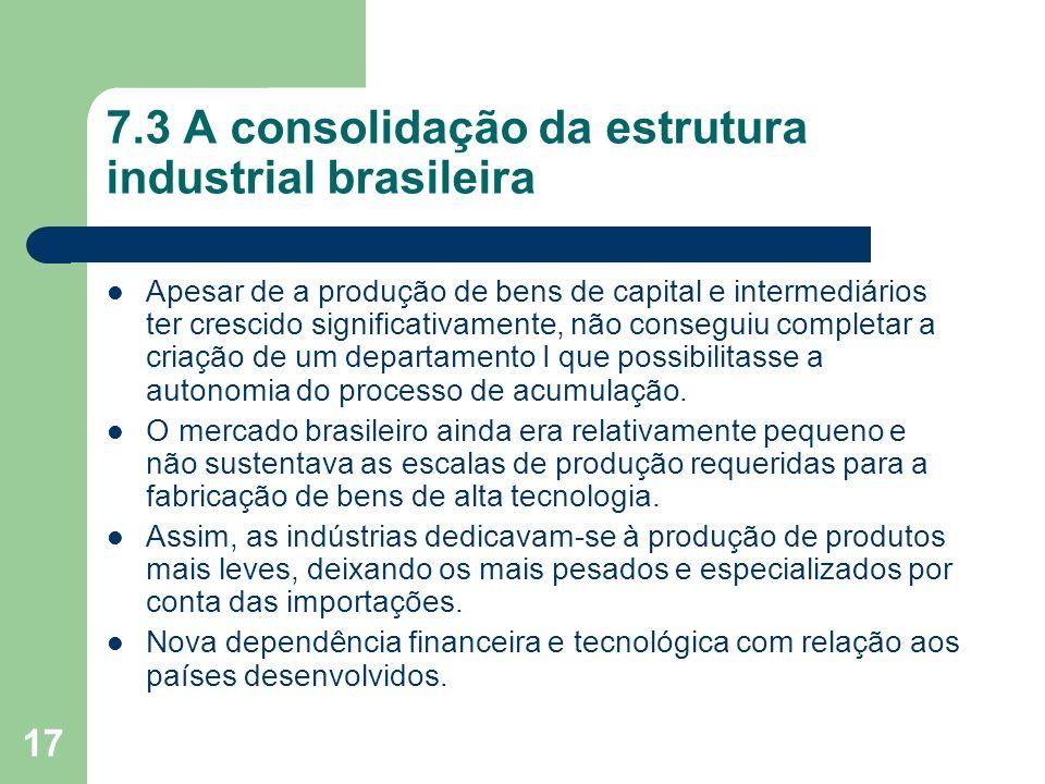17 7.3 A consolidação da estrutura industrial brasileira Apesar de a produção de bens de capital e intermediários ter crescido significativamente, não