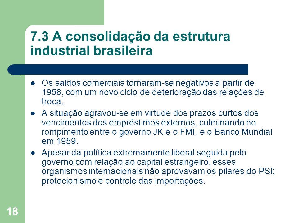 18 7.3 A consolidação da estrutura industrial brasileira Os saldos comerciais tornaram-se negativos a partir de 1958, com um novo ciclo de deterioraçã