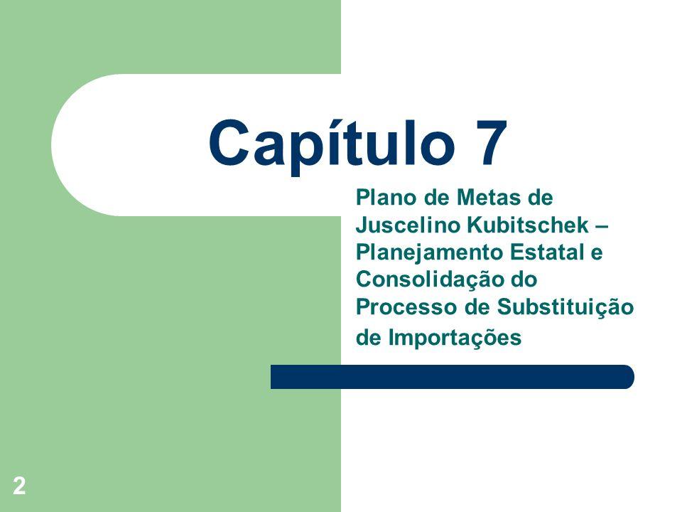 2 Capítulo 7 Plano de Metas de Juscelino Kubitschek – Planejamento Estatal e Consolidação do Processo de Substituição de Importações