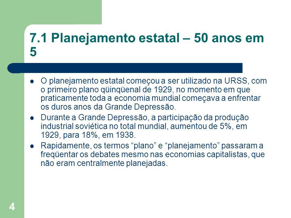 4 7.1 Planejamento estatal – 50 anos em 5 O planejamento estatal começou a ser utilizado na URSS, com o primeiro plano qüinqüenal de 1929, no momento