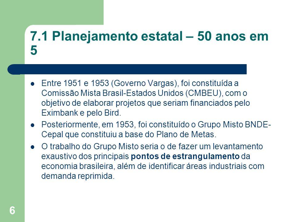 6 7.1 Planejamento estatal – 50 anos em 5 Entre 1951 e 1953 (Governo Vargas), foi constituída a Comissão Mista Brasil-Estados Unidos (CMBEU), com o ob