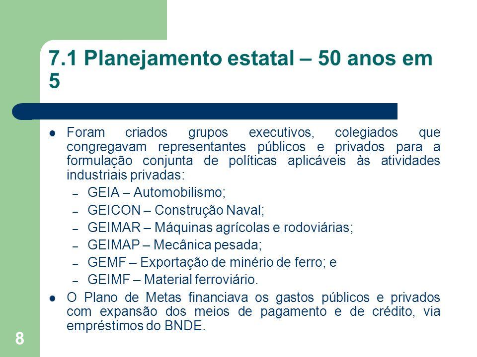 8 7.1 Planejamento estatal – 50 anos em 5 Foram criados grupos executivos, colegiados que congregavam representantes públicos e privados para a formul