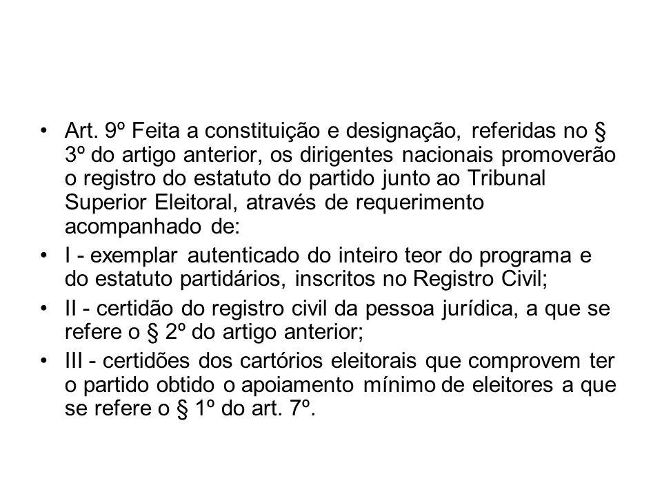 Art. 9º Feita a constituição e designação, referidas no § 3º do artigo anterior, os dirigentes nacionais promoverão o registro do estatuto do partido