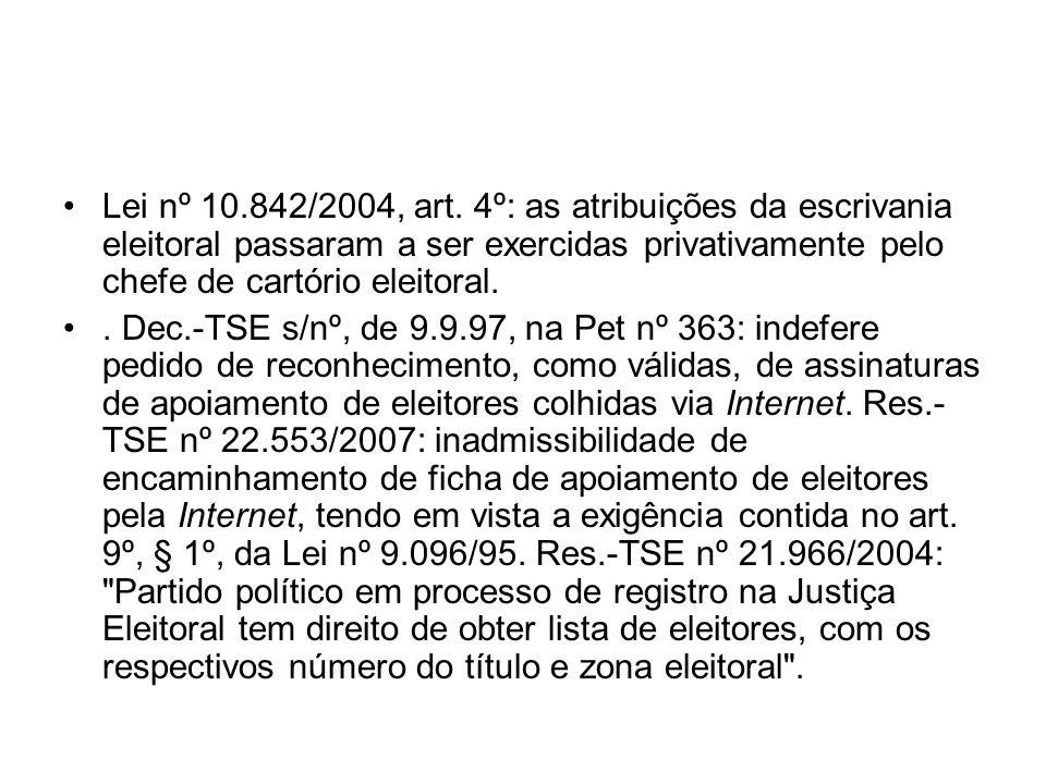 Lei nº 10.842/2004, art. 4º: as atribuições da escrivania eleitoral passaram a ser exercidas privativamente pelo chefe de cartório eleitoral.. Dec.-TS