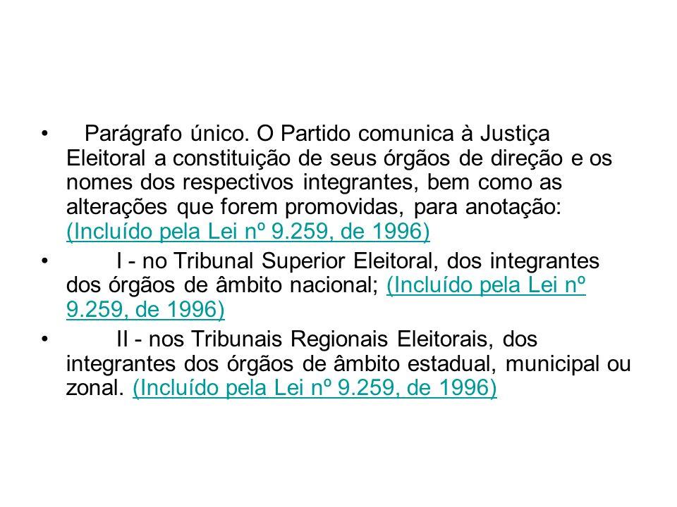 Parágrafo único. O Partido comunica à Justiça Eleitoral a constituição de seus órgãos de direção e os nomes dos respectivos integrantes, bem como as a