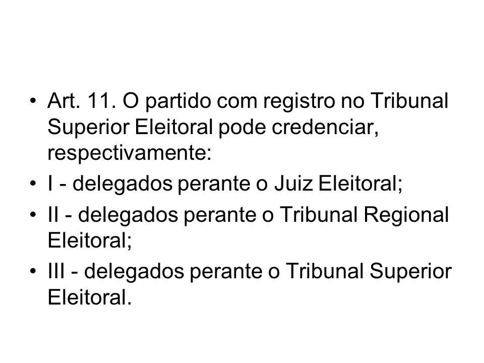 Art. 11. O partido com registro no Tribunal Superior Eleitoral pode credenciar, respectivamente: I - delegados perante o Juiz Eleitoral; II - delegado