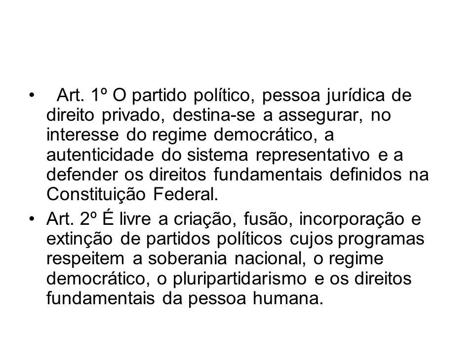 Art. 1º O partido político, pessoa jurídica de direito privado, destina-se a assegurar, no interesse do regime democrático, a autenticidade do sistema