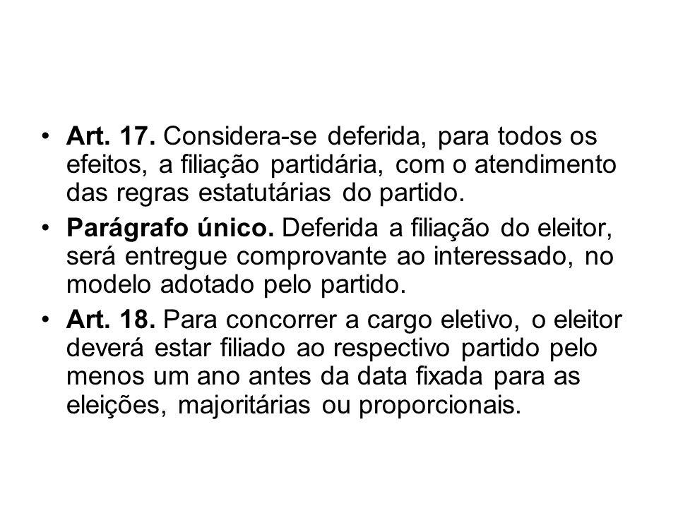 Art. 17. Considera-se deferida, para todos os efeitos, a filiação partidária, com o atendimento das regras estatutárias do partido. Parágrafo único. D