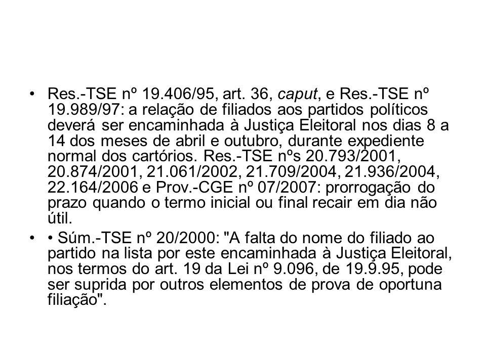 Res.-TSE nº 19.406/95, art. 36, caput, e Res.-TSE nº 19.989/97: a relação de filiados aos partidos políticos deverá ser encaminhada à Justiça Eleitora