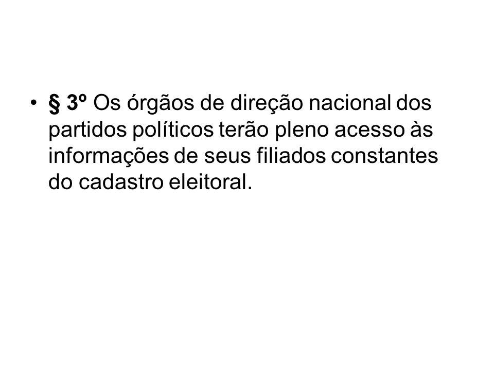 § 3º Os órgãos de direção nacional dos partidos políticos terão pleno acesso às informações de seus filiados constantes do cadastro eleitoral.
