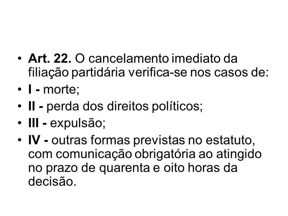 Art. 22. O cancelamento imediato da filiação partidária verifica-se nos casos de: I - morte; II - perda dos direitos políticos; III - expulsão; IV - o
