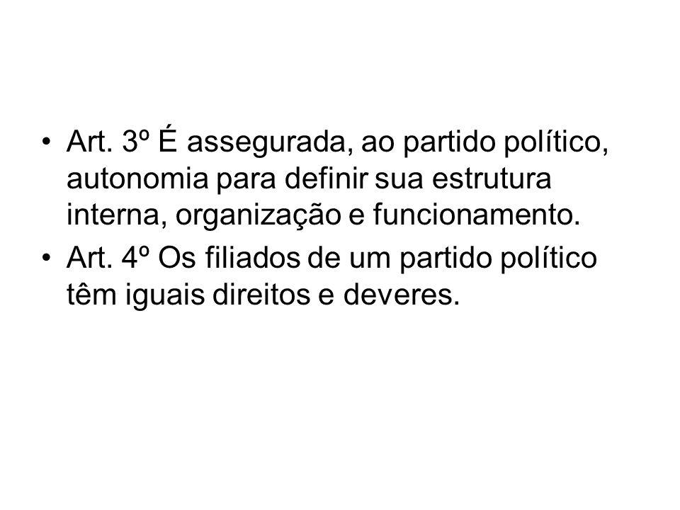 Art. 3º É assegurada, ao partido político, autonomia para definir sua estrutura interna, organização e funcionamento. Art. 4º Os filiados de um partid